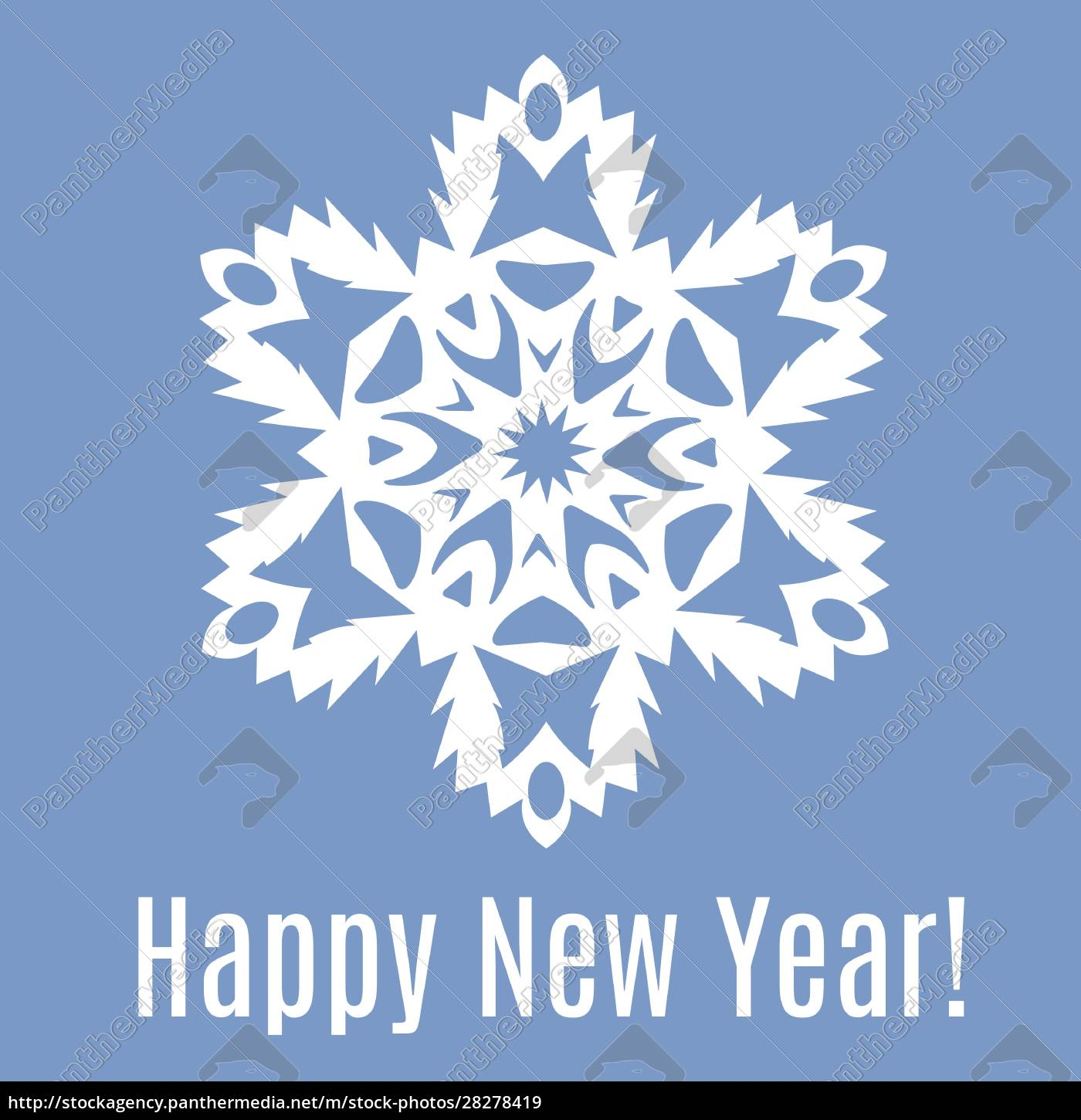 happy, new, year, paper, snowflake, on - 28278419