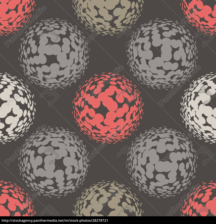 living, coral, halftone, circles, seamless, pattern. - 28278721