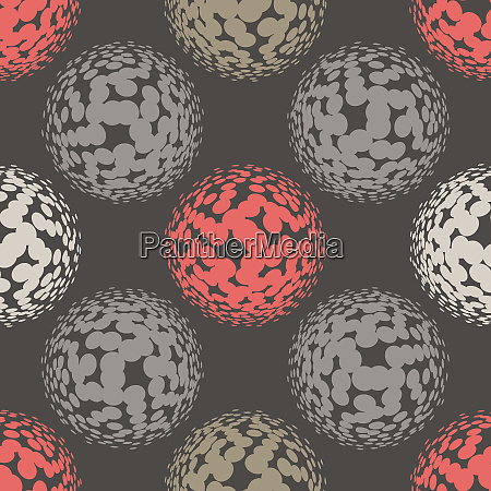 living, coral, halftone, circles, seamless, pattern. - 28278723