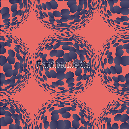 living, coral, halftone, circles, seamless, pattern. - 28278745