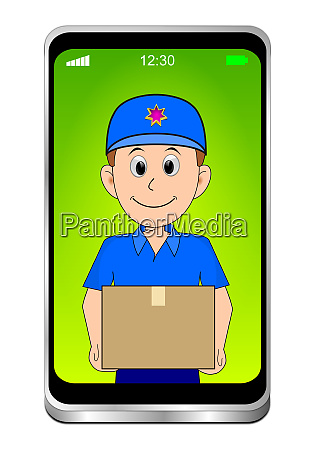 smartphone, with, friendly, courier, delivering, a - 28278077