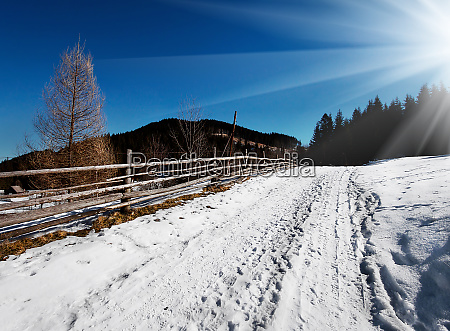 snow-covered, path, along, the, wooden, fence - 28278828