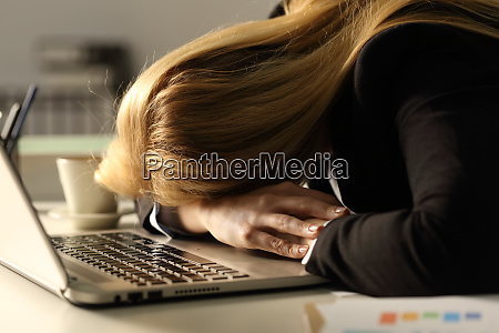 tired, business, woman, sleeping, over, laptop - 28278010