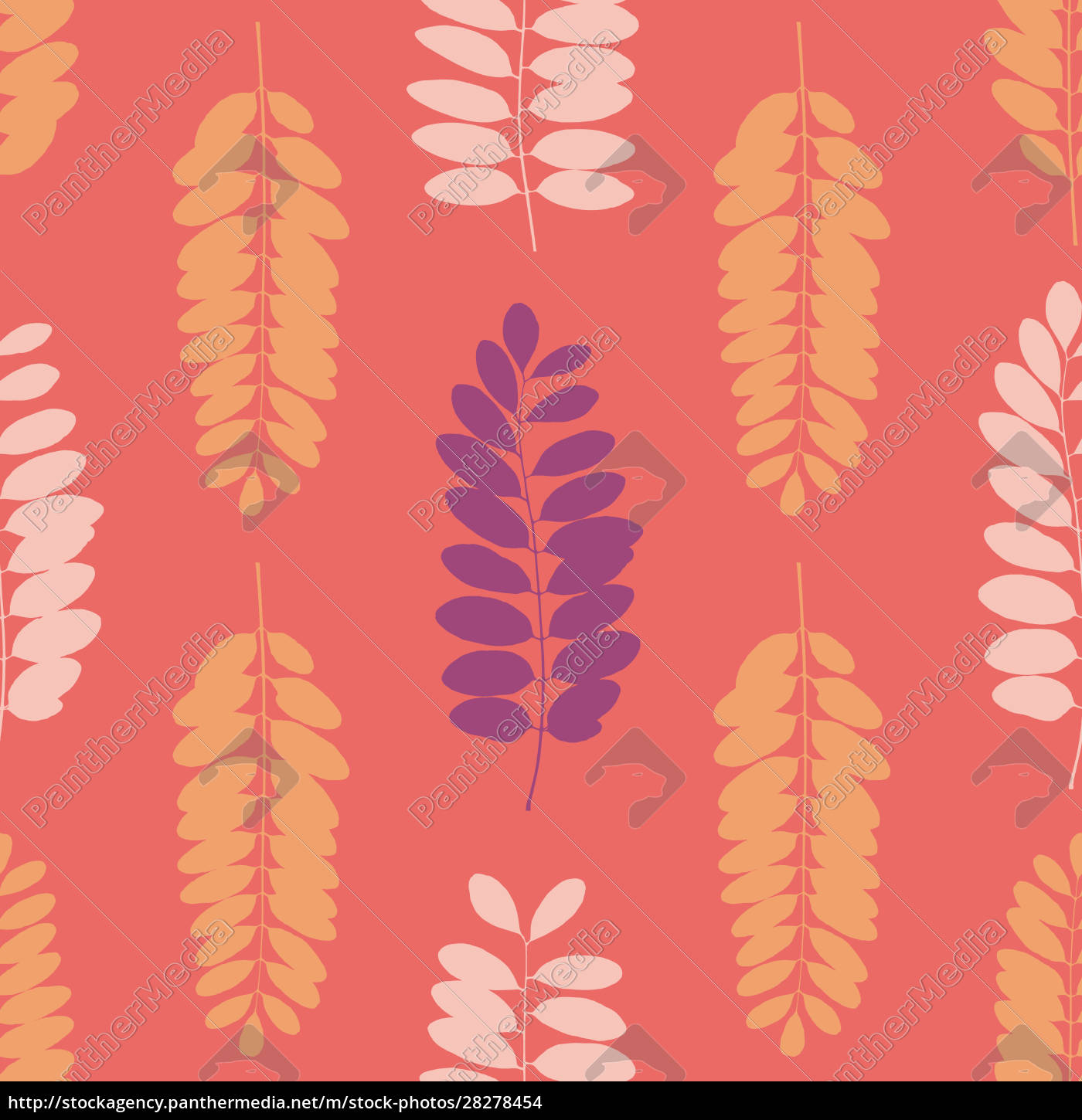 tree, leaf, silhouettes, seamless, pattern., vector - 28278454