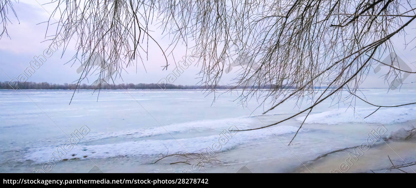 winter, landscape, at, dawn, , riverbank, of - 28278742