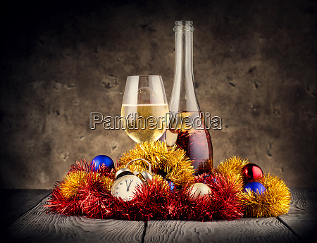 christmas, still, life, with, champagne, and - 28279807