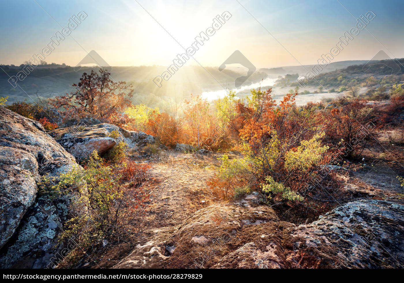 dawn, on, banks, of, mountain, river - 28279829