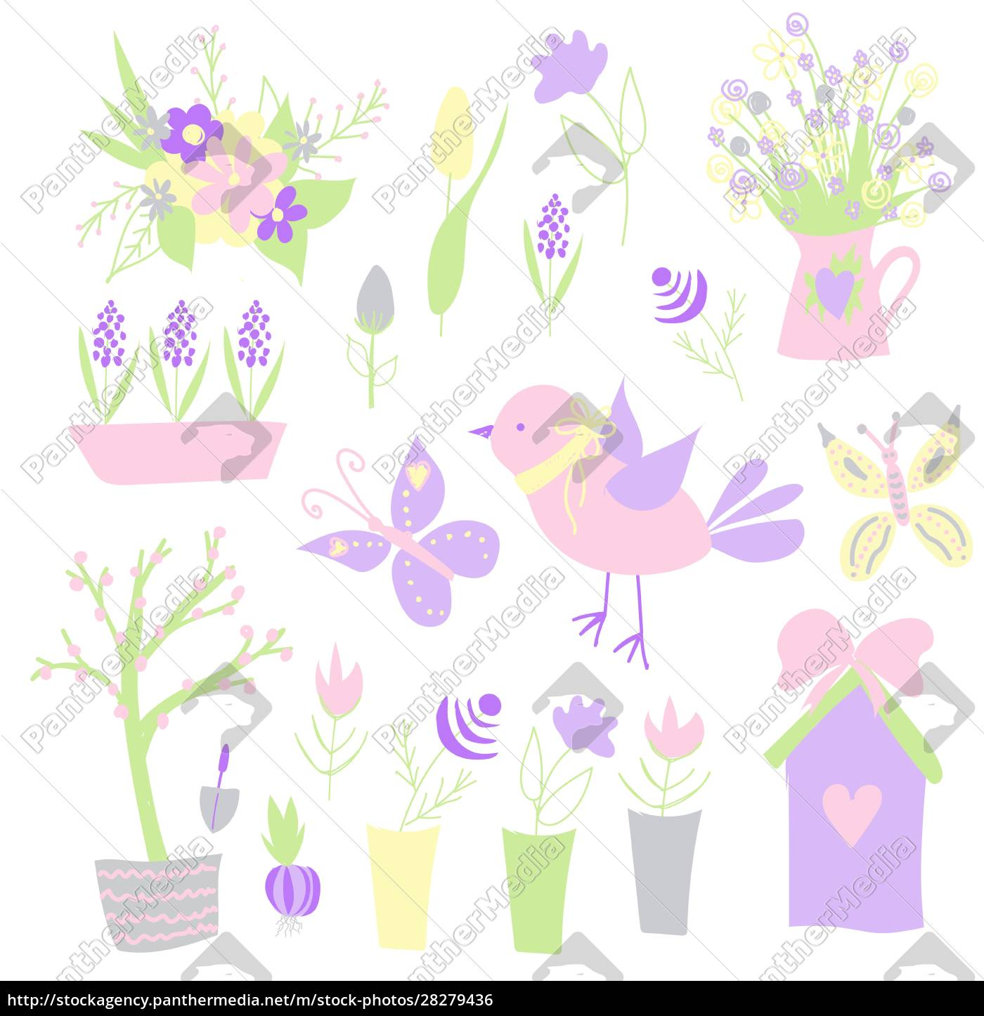 easter., spring, stickers., happy, easter., elements - 28279436