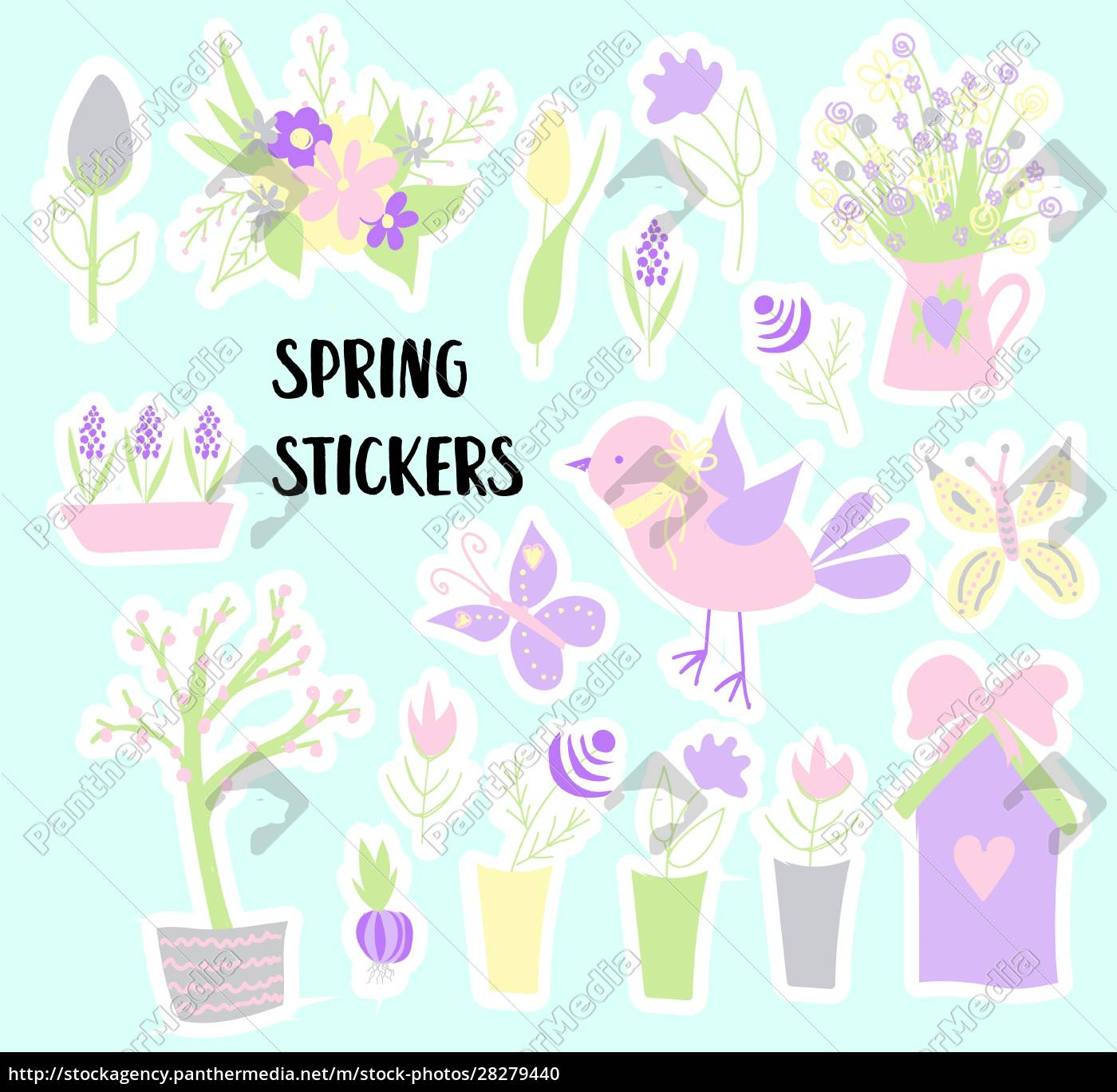 easter., spring, stickers., happy, easter., elements - 28279440