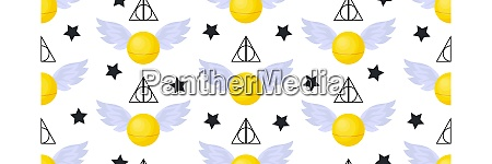 golden, snitch, seamless, pattern., deathly, hallows. - 28279296