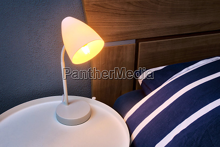 modern, night, lamp, next, to, bed - 28279974