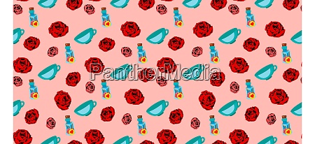 playing, cards, seamless, pattern., red, rose - 28279255
