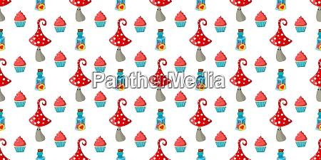 seamless, childish, pattern., amanita, mushrooms., cupcakes - 28279309