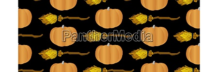 seamless, vector, pattern., pumpkin, and, flying - 28279483