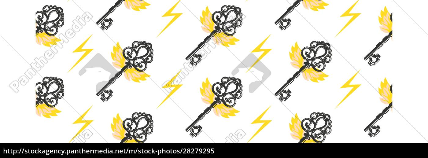 seamless, vector, pattern., vintage, key, with - 28279295
