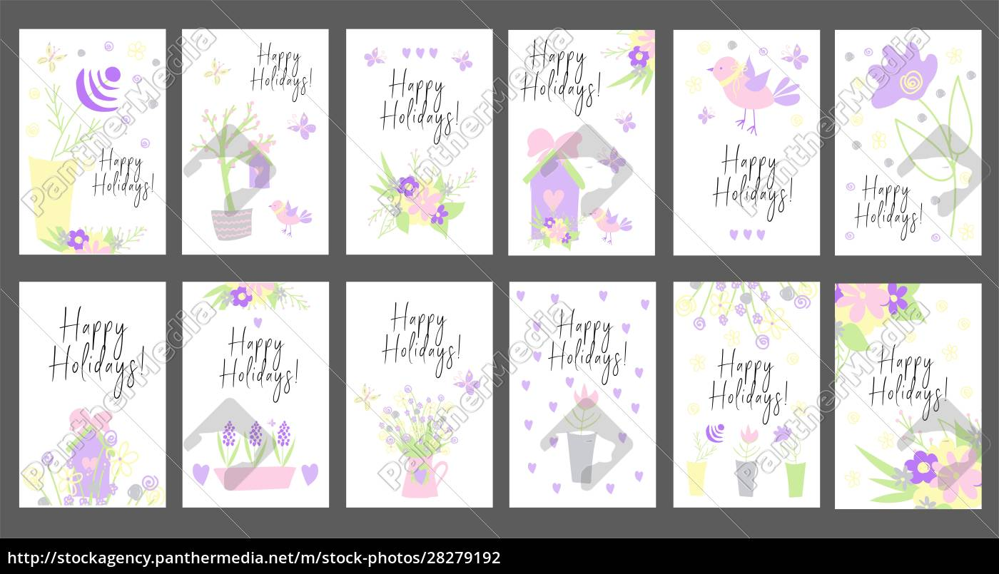set, of, bright, cards., happy, holidays. - 28279192