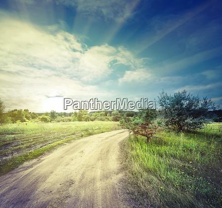 winding, sandy, road, in, field - 28279661