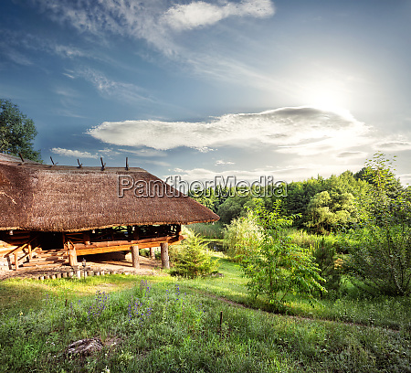 wooden, pergola, with, a, thatched, roof - 28279663