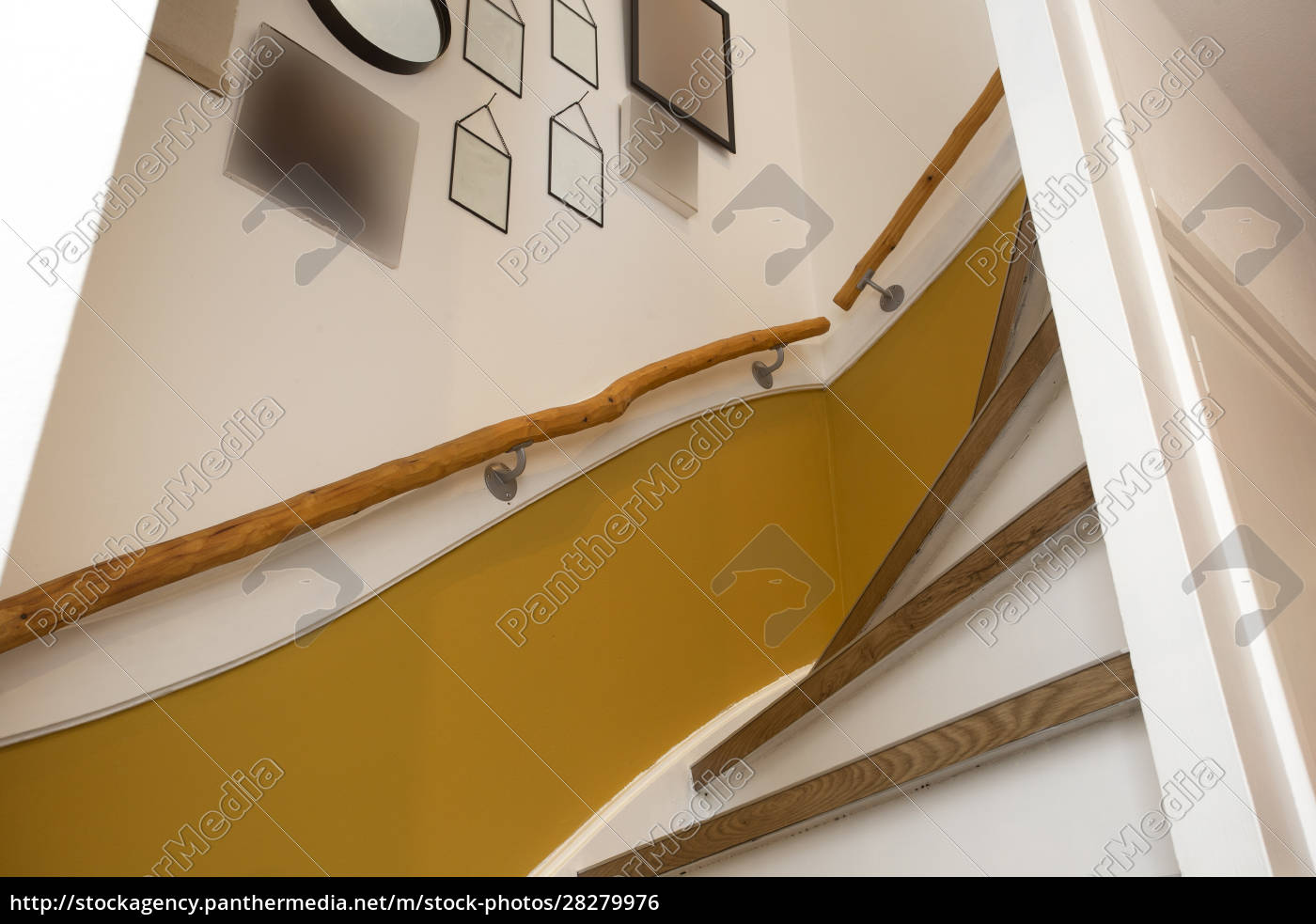 wooden, stair, with, yellow, wall, and - 28279976