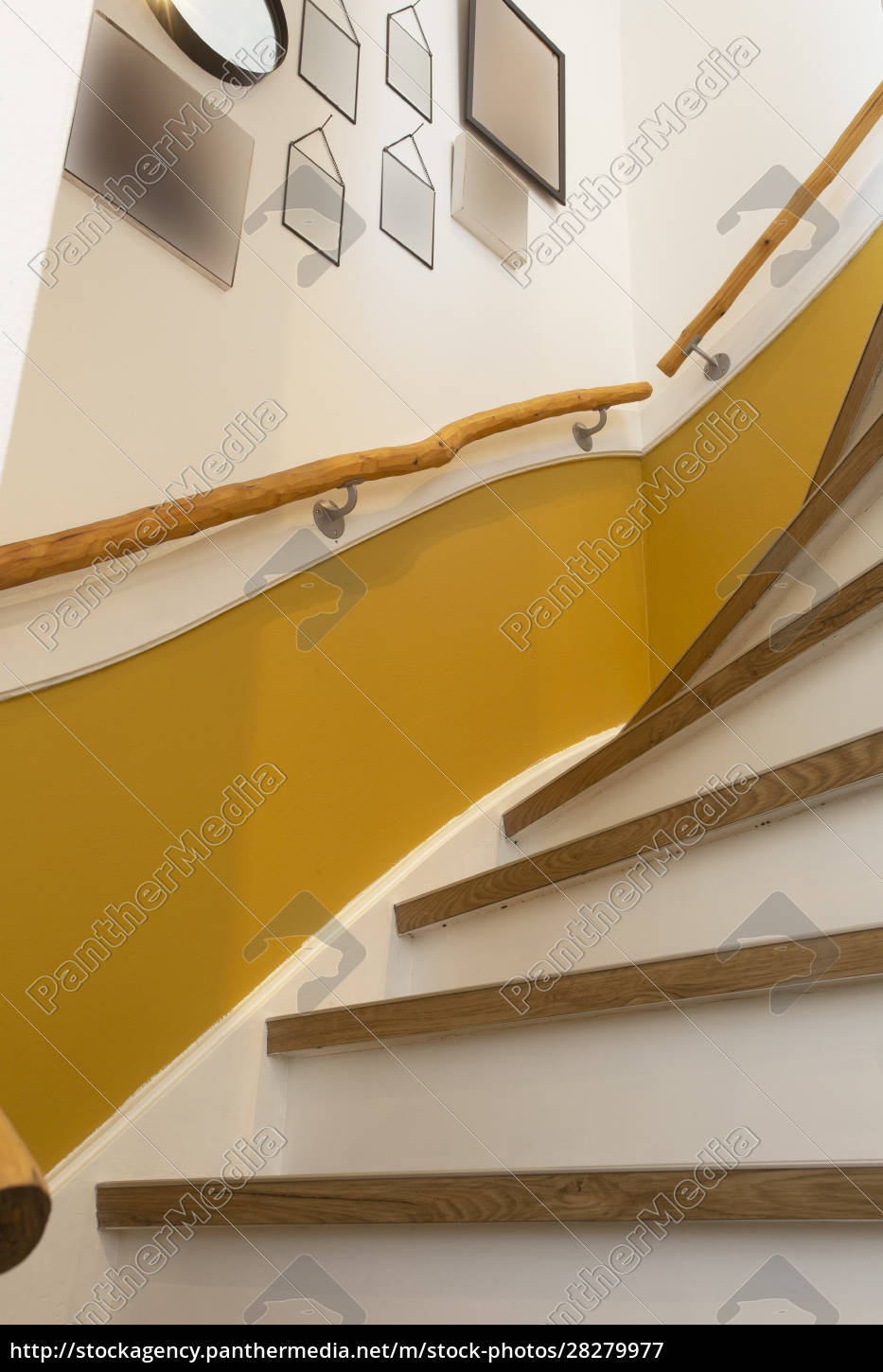 wooden, stair, with, yellow, wall, and - 28279977