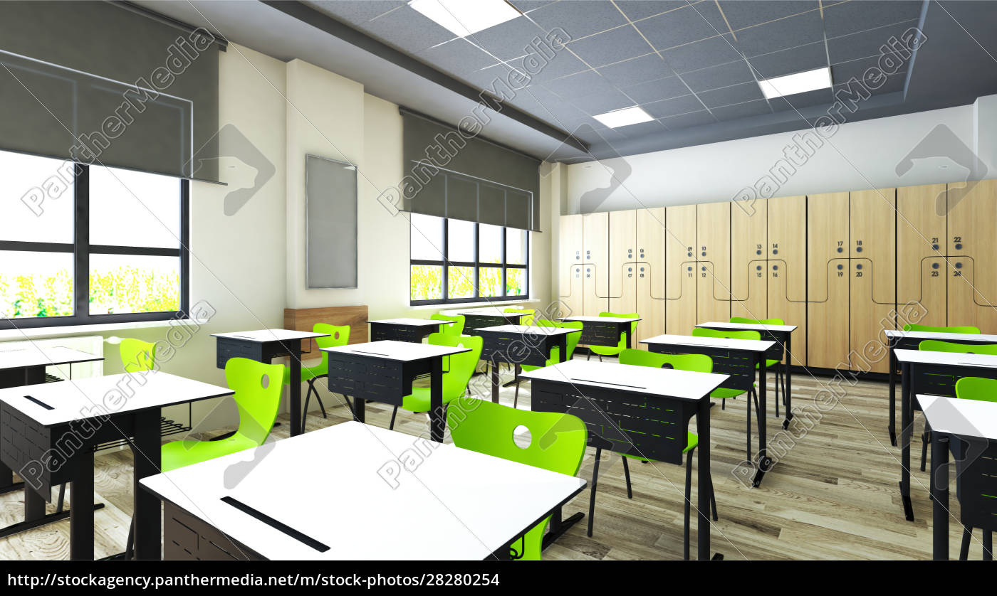 classroom, design, with, modern, desk, and - 28280254