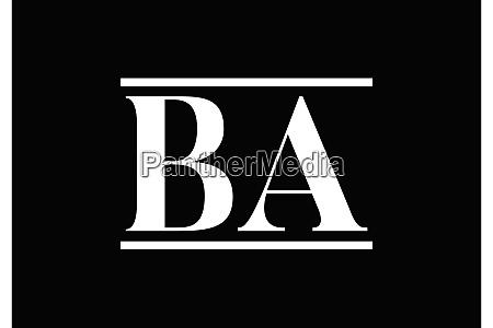 b a initial letter logo design
