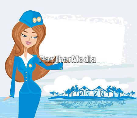 beautiful stewardess in the tropics