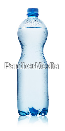 blue plastic bottle with water drops