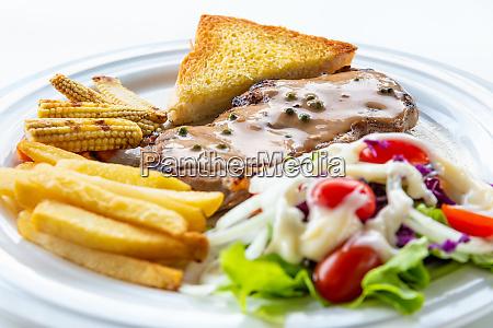 closeup steak pork chop