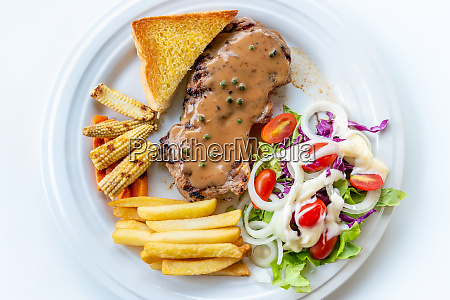 top view steak pork chop