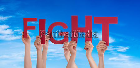 people hands holding word fight blue