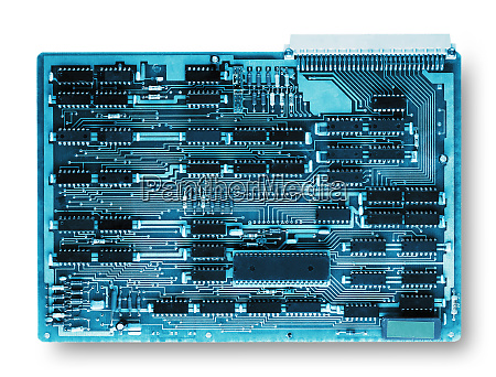 computer board toned in blue