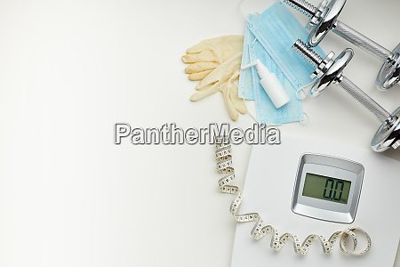 sport equipment scales medical masks and