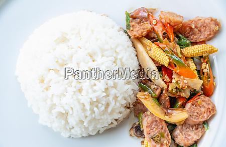 thai sour pork or nham fried