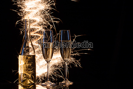 celebration of champagne in the sparks