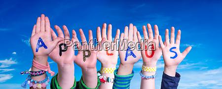children hands building word applaus means