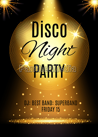 disco party poster template with shining