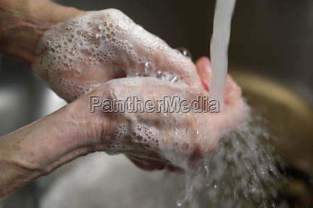 close up of senior womans hands