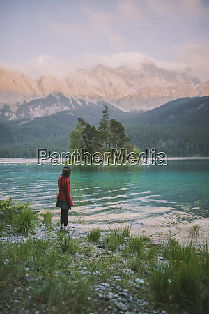 germany bavaria eibsee young woman standing