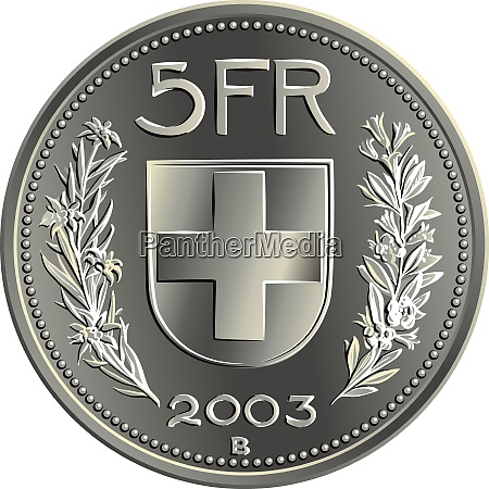 swiss money 5 francs silver coin