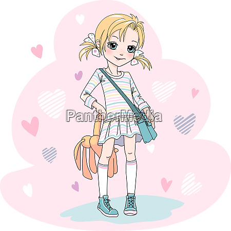 vector baby girl with bag and