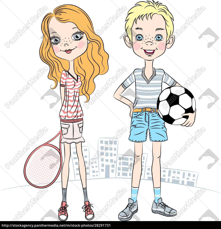 vector, girl, with, a, tennis, racket - 28291731