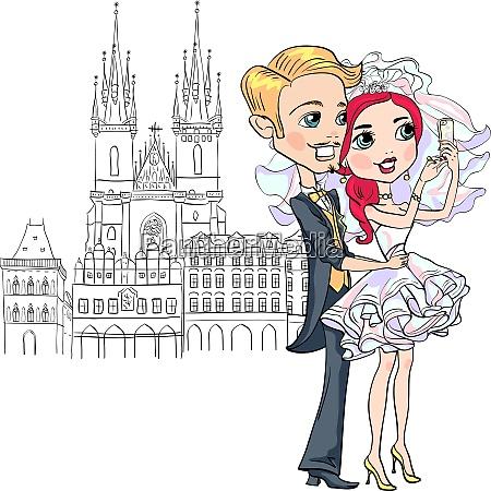 cute bride and groom make selfie