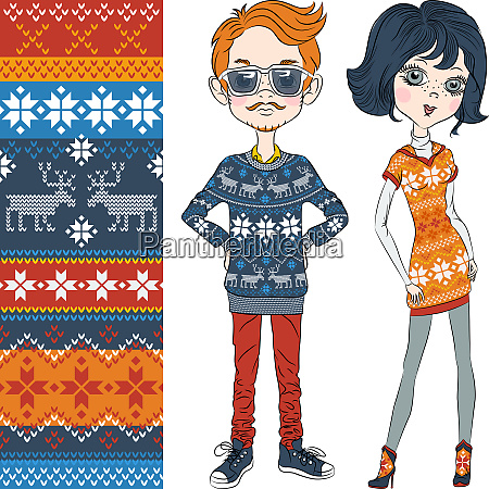 vector fashion hipster boy and girl