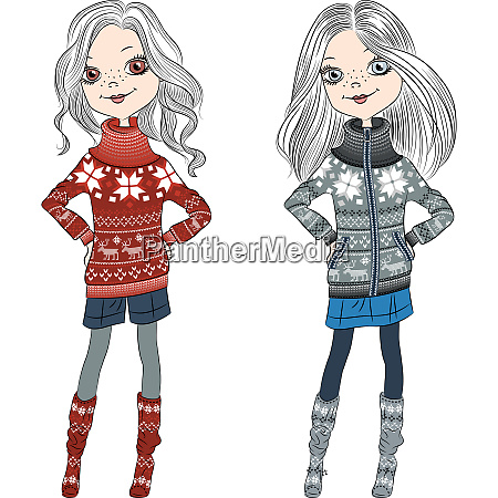 vector fashion hipster girls in knitted