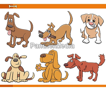 dogs and puppies comic animal characters