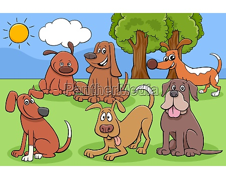 cartoon dogs and puppies characters group