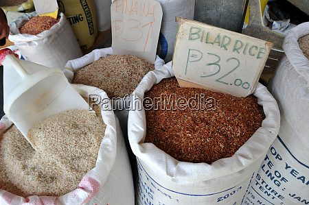 rice sack an the market in