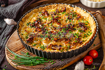 homemade cheese quiche with onion and