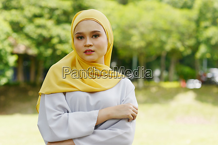 cheerful muslim girl